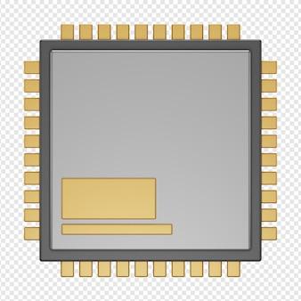 Rendu 3d isolé de l'icône du processeur psd