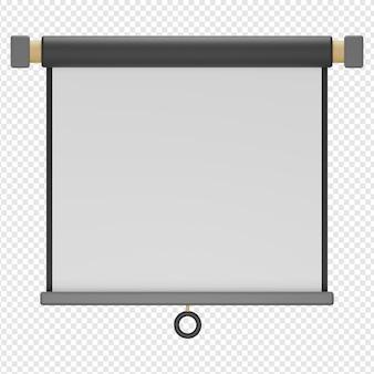 Rendu 3d isolé de l'icône du projecteur d'écran psd