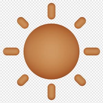 Rendu 3d isolé de l'icône du soleil psd