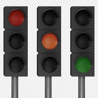 Rendu 3d isolé de l'icône de feu de circulation