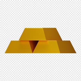 Rendu 3d isolé de l'icône de lingots d'or psd