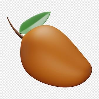 Rendu 3d isolé de l'icône de mangue psd