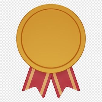 Rendu 3d isolé de l'icône de la médaille psd