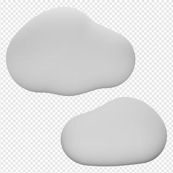 Rendu 3d isolé de l'icône de nuages psd