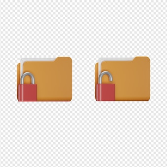 Rendu 3d isolé de l'icône de sécurité du dossier psd