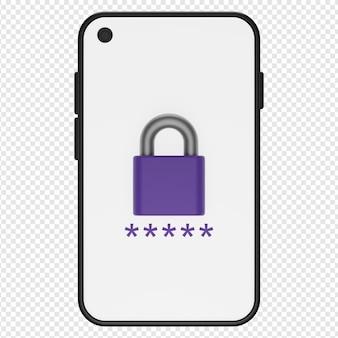 Rendu 3d isolé de l'icône de smartphone verrouillé psd
