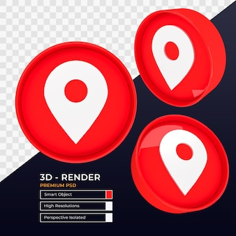 Rendu 3d isolé de la perspective de l'icône de point