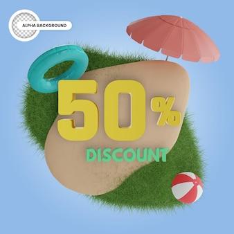 Rendu 3d isolé de réduction de 50 pour cent d'été