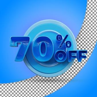 Rendu 3d isolé rendu 3d réaliste offert produit 70 pour cent