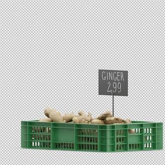 Rendu 3d isométrique de gingembre