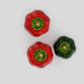 Rendu 3d isométrique de poivrons