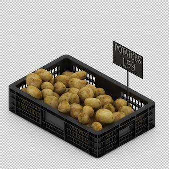Rendu 3d isométrique de pommes de terre