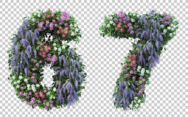 Rendu 3d jardin fleuri numéro 6 et numéro 7 isolé
