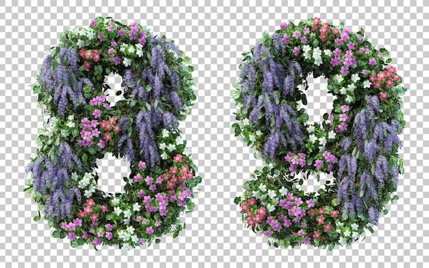 Rendu 3d jardin fleuri numéro 8 et numéro 9 isolé