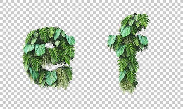 Rendu 3d de jardin vertical alphabet minuscule e et alphabet f