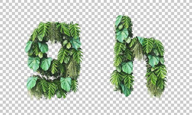 Rendu 3d de jardin vertical alphabet minuscule g et alphabet h