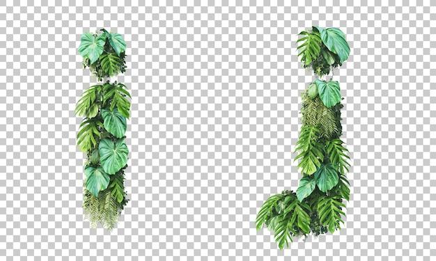 Rendu 3d de jardin vertical alphabet minuscule i et alphabet j