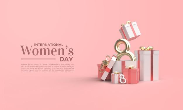 Rendu 3d de la journée de la femme avec boîte-cadeau