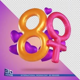 Rendu 3d de la journée internationale de la femme isolé