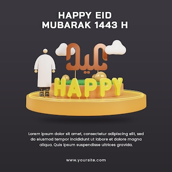 Rendu 3d joyeux eid mubarak 1443 h avec un personnage masculin sur le modèle de publication sur les médias sociaux du podium