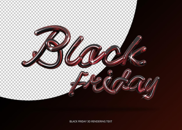 Rendu 3d de lettrage de vendredi noir