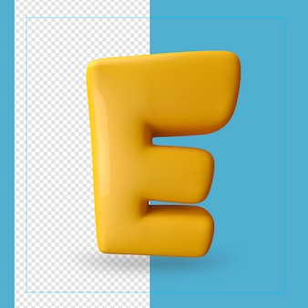 Rendu 3d de la lettre de l'alphabet e