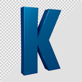Rendu 3d de la lettre de l'alphabet k