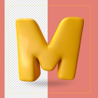 Rendu 3d de la lettre de l'alphabet m