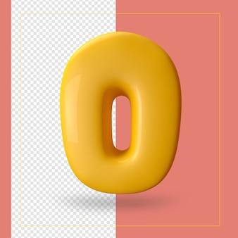 Rendu 3d de la lettre de l'alphabet o