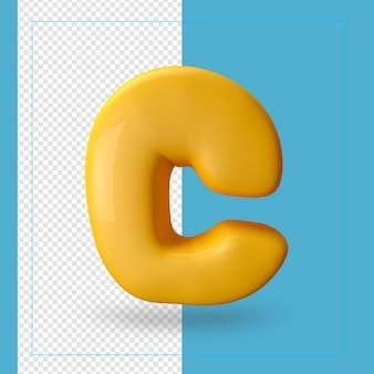 Rendu 3d de la lettre de l'alphabet c