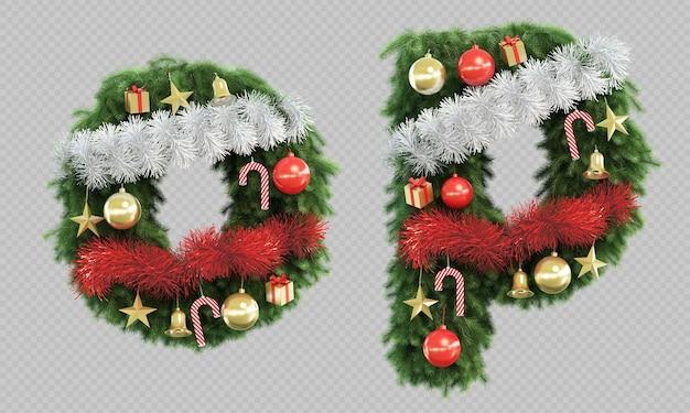 Rendu 3d de la lettre o de l'arbre de noël et de la lettre p