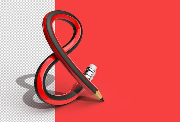 Rendu 3d de la lettre de police bent pencil s logo fichier psd transparent.