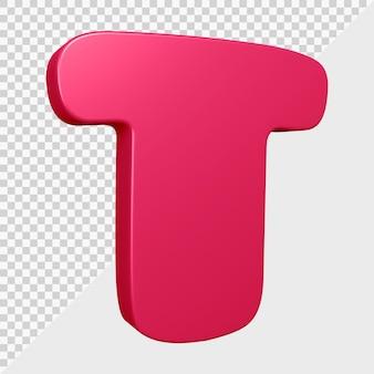 Rendu 3d de la lettre t de l'alphabet