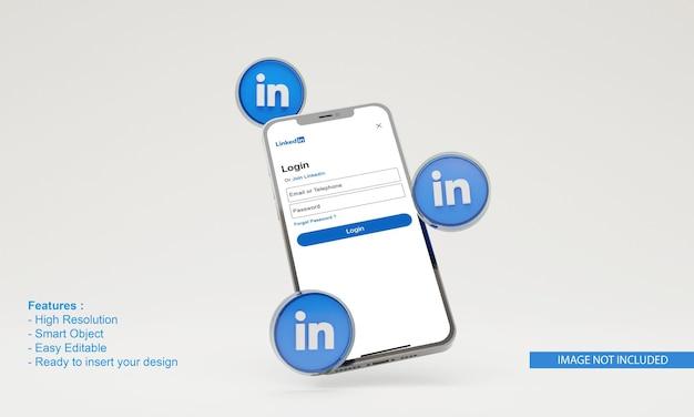 Rendu 3d lié à la maquette de téléphone mobile d'illustration