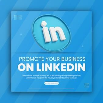 Rendu 3d linkedin icône promotion commerciale pour le modèle de conception de publication sur les médias sociaux