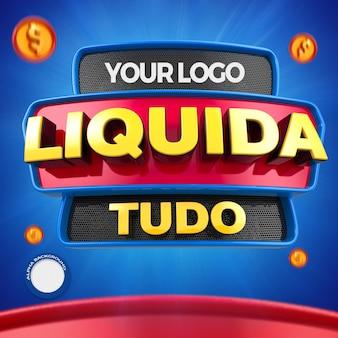 Le rendu 3d liquide tout pour la composition des magasins généraux au brésil