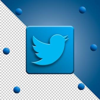 Rendu 3d de logo twitter isolé