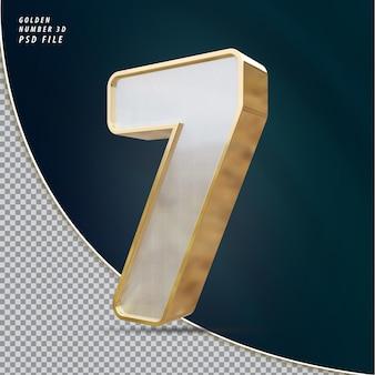 Rendu 3d de luxe doré numéro 7
