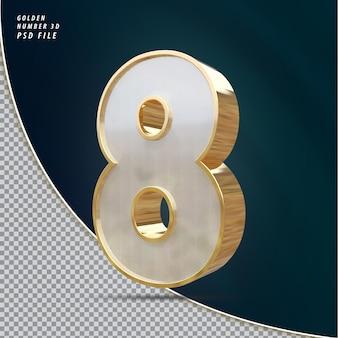 Rendu 3d de luxe doré numéro 8