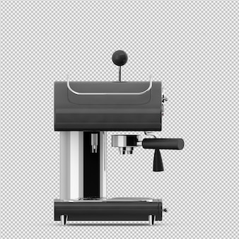 Rendu 3d de la machine à café isométrique