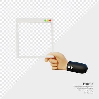 Rendu 3d d'une main avec cadre