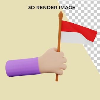 Rendu 3d à la main avec le concept de fête nationale indonésienne premium psd