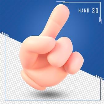 Rendu 3d de la main de symbole humain isolé