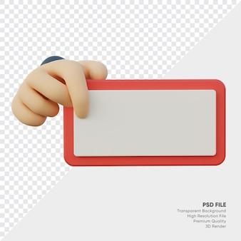Rendu 3d de la main avec tableau rouge