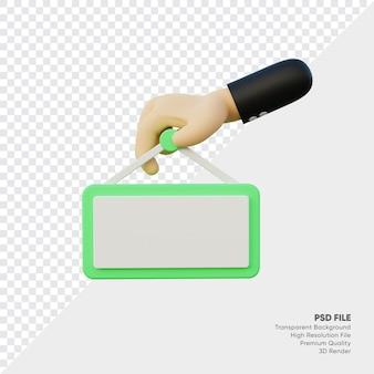Rendu 3d d'une main tenant le panneau vert