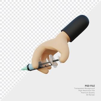Rendu 3d de mains tenant des injections médicales