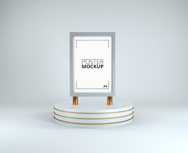 Rendu 3d de la maquette de l'affiche cadre blanc et or