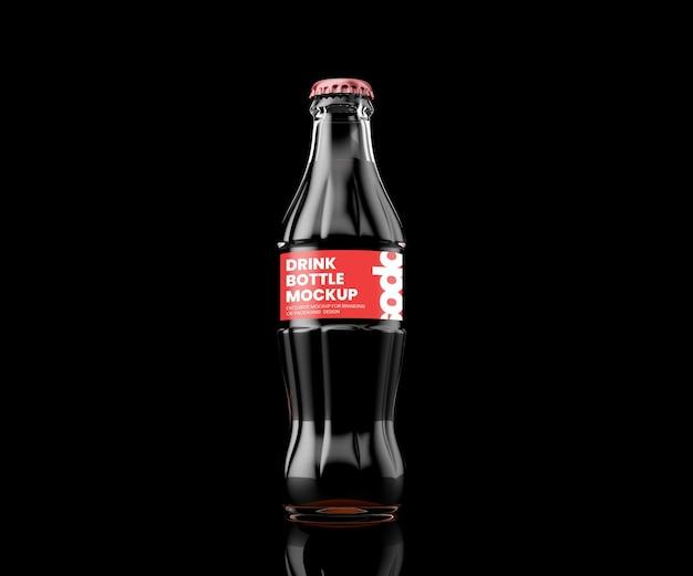 Rendu 3d de maquette de bouteille de boisson en verre