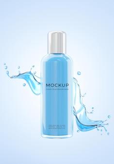 Rendu 3d de la maquette de bouteille de peau hydratante de cosmétiques