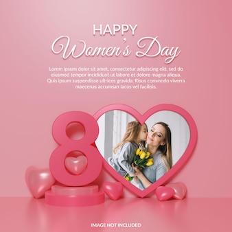 Rendu 3d de maquette de cadre photo pour la journée de la femme heureuse